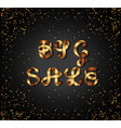 big sale gold sign on black background vector image vector image