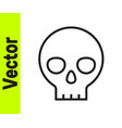black line human skull icon isolated on white vector image vector image