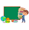 blackboard and cute child with books vector image vector image