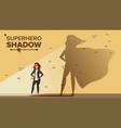 businesswoman superhero shadow vector image vector image