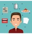 cartoon man face multitask design vector image