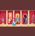 castle interior people cartoon vector image vector image