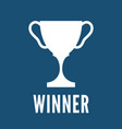 champion trophy cup white icon winner vector image vector image