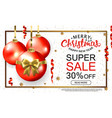 christmas sale template card with realistic red vector image vector image