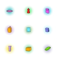 Container icons set pop-art style vector image vector image