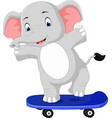 cute elephant skateboard cartoon vector image vector image