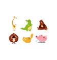 cute funny animals set giraffe crocodile bear vector image