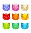 cute jelly cat faces vector image vector image