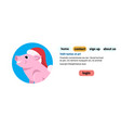 cute pig portrait red hat happy new year merry vector image