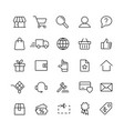 e-commerce online shopping line black 25 icons set vector image vector image