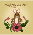 easter with rose and bunnies vector image