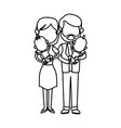 family couple carrying babys twins vector image