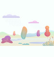fantasy minimalistic autumn landscape with cartoon vector image
