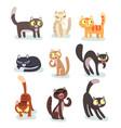 flat set different cats funny cartoon vector image