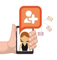 hand holding smartphone add person friend contact vector image
