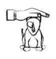 hand human help dog sick pet sketch vector image vector image