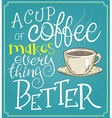 hand lettering quote - a cup of coffee makes every vector image vector image