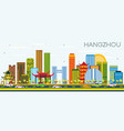 hangzhou china skyline with color buildings and vector image vector image