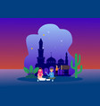 happy ramadhan mubarak greeting concept vector image