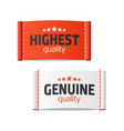 highest and genuine quality clothing labels vector image vector image