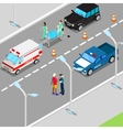 Isometric City Car Accident with Ambulance vector image