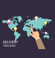 male hand pointing on map delivery tracking vector image vector image