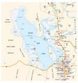 map great salt lake and salt lake city in utah vector image vector image