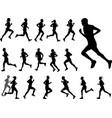 marathon runners silhouettes set vector image vector image