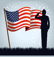 military man silhouette with usa flag vector image vector image