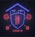 neon sign stop covid-19 coronavirus quarantine vector image