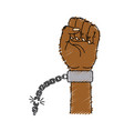 nice hands fist up with metallic chain vector image vector image