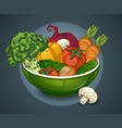 organic vegetables plate template vector image vector image
