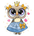 owl princess in a blue dress with hearts isolated vector image vector image
