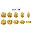 peercoin 3d gold coins set realistic flip vector image vector image