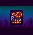 pizza logo in neon style neon sign emblem on vector image vector image