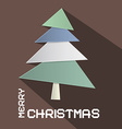 Retro Brown Merry Christmas with Paper Cut T vector image vector image