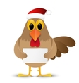 Rooster in Santa hat isolated on white background vector image vector image
