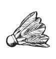 sketch badminton shuttlecock vector image vector image