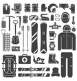 Snowboard and Ski Outline Icons Set vector image vector image
