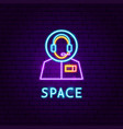 space neon label vector image