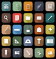 Stationary flat icons with long shadow vector image vector image