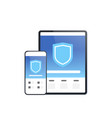 tablet and smartphone mobile data protection vector image