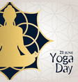 yoga day card gold woman in lotus pose vector image vector image