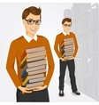 young student holding stack of books vector image vector image