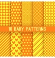 Baby different seamless patterns Orange and yellow vector image