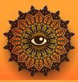 mandala symbol on orange background vector image