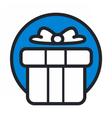 christmas circle blue icon new year vector image
