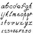 calligraphic font with numerals vector image