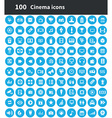 100 cinema icons vector image vector image