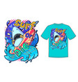 Abstract print with shark and